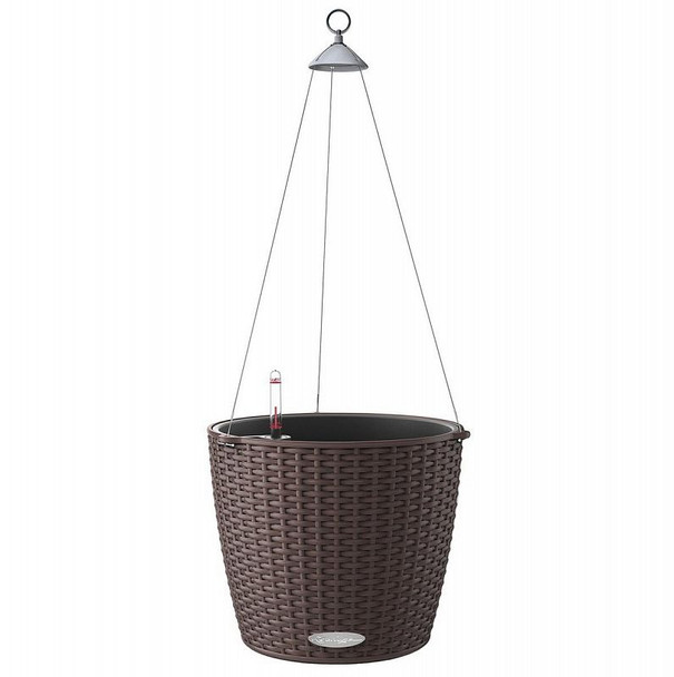 Self-Watering Basket Weave Polyresin Hanging Planter with Substrate