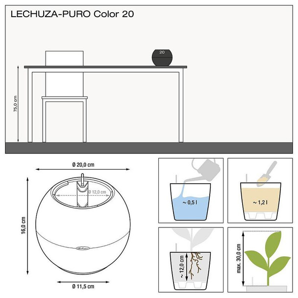 Self-Watering Fine Weave Polyresin Sphere Table Planter with Substrate