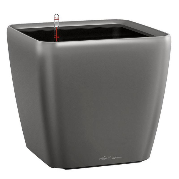 Large Self-Watering High Gloss/Metallic Polyresin Square Table Planter with Substrate