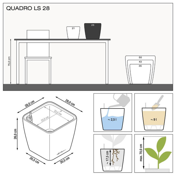Self-Watering High Gloss/Metallic Polyresin Square Table Planter with Substrate