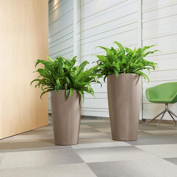 Self-Watering High Gloss/Metallic Polyresin Vase Planter with Substrate