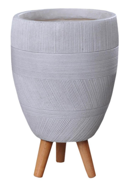Multi Striped Fibrestone Egg Planter with Feet