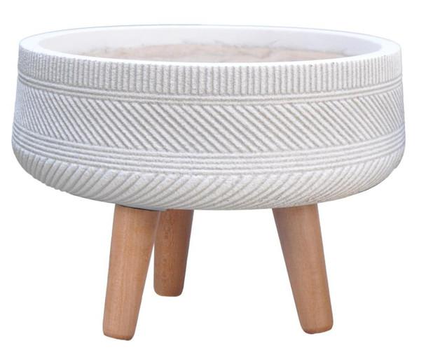 Multi Striped Fibrestone Round Tray Planter with Feet