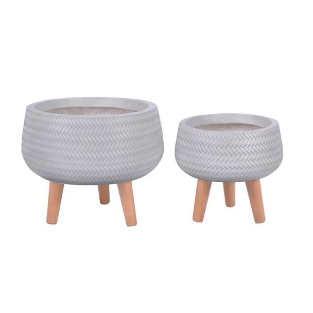 Basket Weave Fibrestone Bowl Planter with Feet