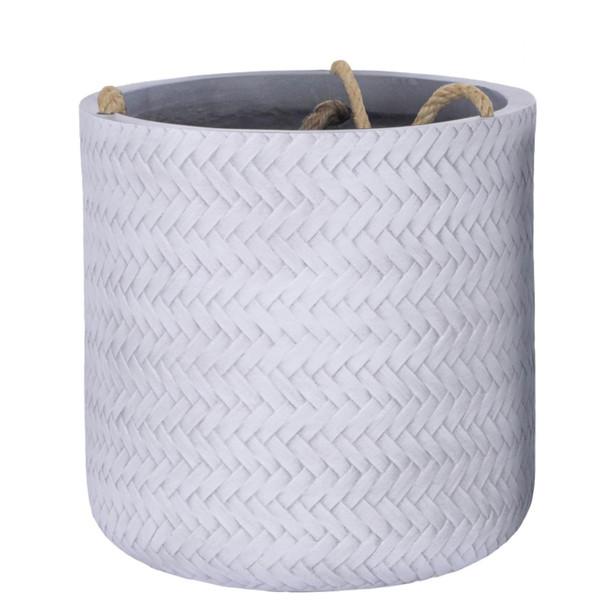 Basket Weave Fibrestone Hanging Round Planter