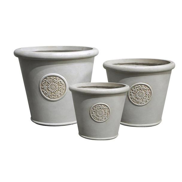 Rustic Fibrestone Rolled Rim Wide Vase Planter