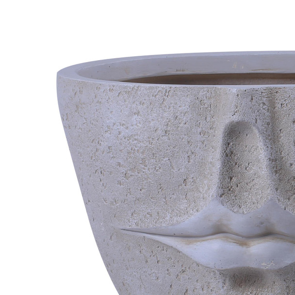 Textured Concrete Effect Fibrestone Oval Planter with Lips