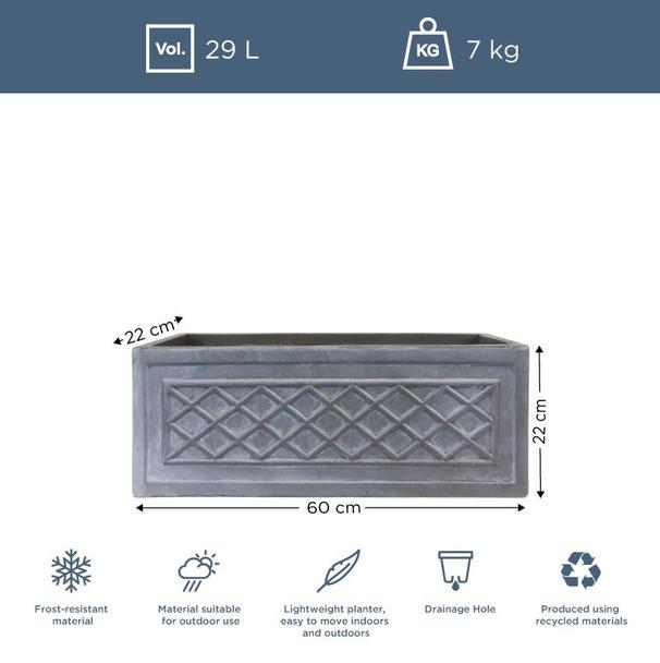 Fibrestone Grey Lattice Window Box Planter