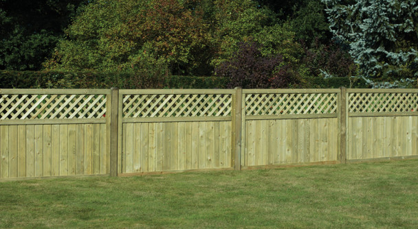 Tongue & Groove Lattice Top Fence Panel (1800 x 1200mm) - Pressure Treated Green Timber