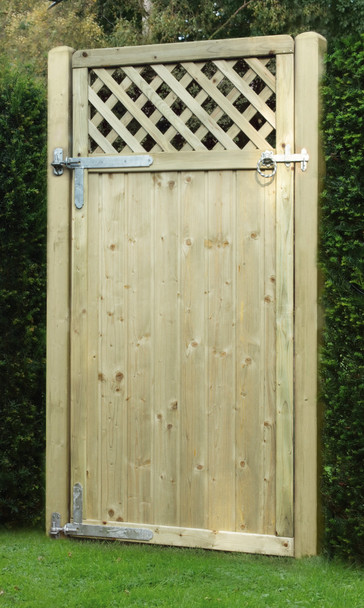 Tongue & Groove Lattice Top Gate (900 x 1800mm) - Pressure Treated Green Timber