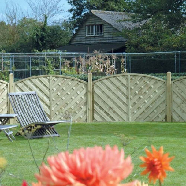 V Arched Fence Panel (1800 x 1200mm) - Pressure Treated Green Timber