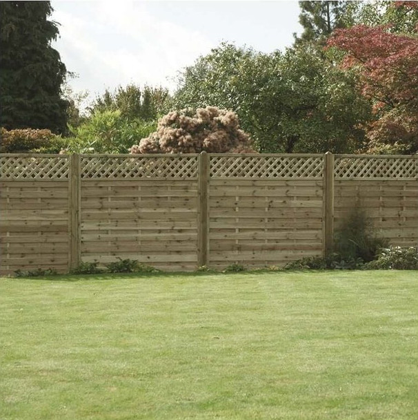 Horizontal Lattice Top Fence Panel (1800 x 1800mm) - Pressure Treated Green Timber