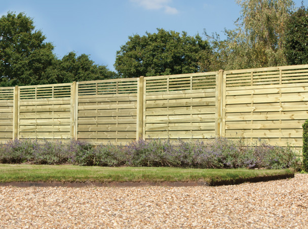 Elite Slatted Top Fence Panel (1800 x 1800mm) - Pressure Treated Green Timber