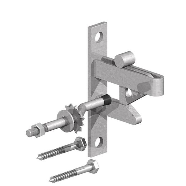 Galvanised Self Locking Gate Catch - Kit Cranked Striker