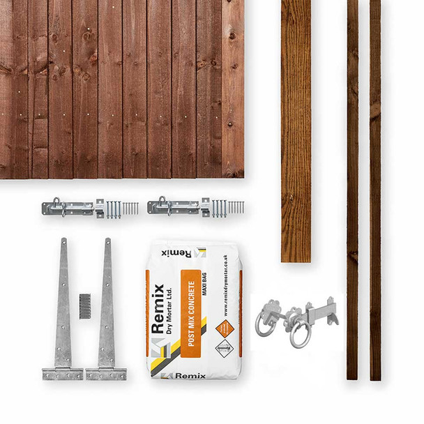 Brown Closeboard Gate Kit (1750 x 900mm) - Brown Timber with Post, Stops, Hinges, Latch, Padbolts and Post Mix