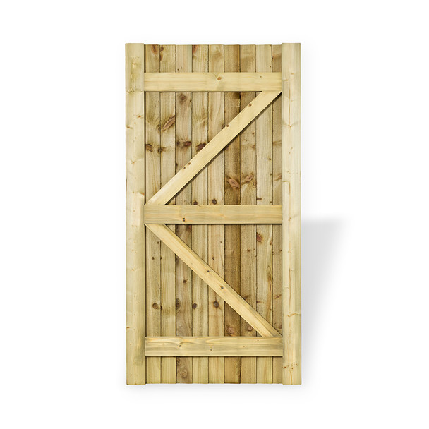 Closeboard garden gate in natural colour wood Back View