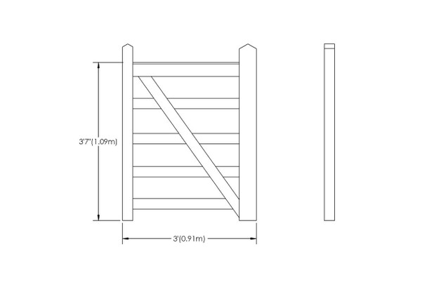3' - 5 bar Field Gate Universal Hang