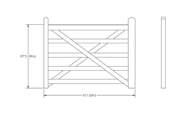 5' - 5 bar Field Gate Universal Hang