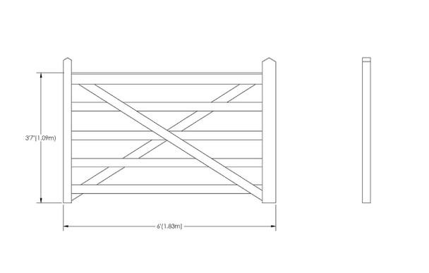 6' - 5 bar Field Gate Universal Hang - Tech Drawing
