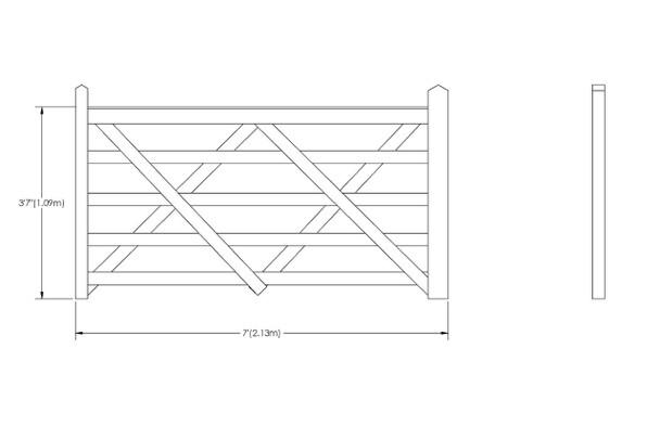 7' - 5 bar Field Gate Universal Hang