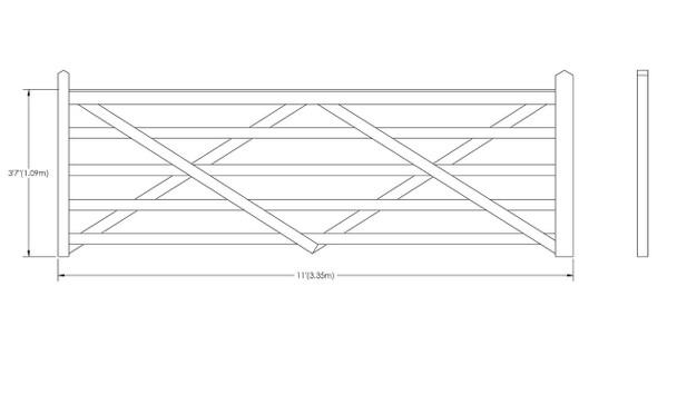 11' - 5 bar Field Gate Universal Hang
