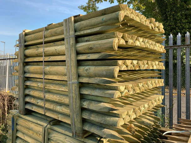 Half Rounded Pointed Fence Post (1800 x 100 - 125mm) - Peeled & Pressure Treated