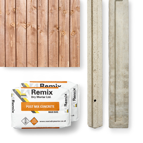 Closeboard Fence Panel Kit (1830 x 1650mm) - Brown Timber with Concrete Post, Concrete and Gravel Board