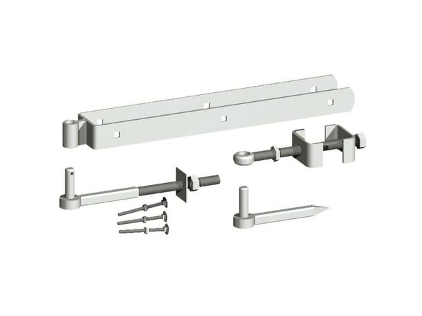 "18"" Galvanised Adjustable Hinge Set (Pre-Packed With Screws) C/W Hooks to Bolt and Drive"