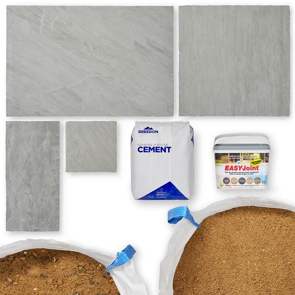 Paving Kit with Grey Sandstone Slabs
