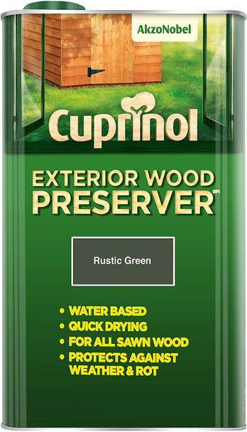 Cuprinol Exterior Wood Preserver Rustic Green 5L
