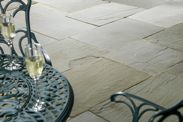 Raj Green Indian Sandstone Paving Slabs Project Pack (15.25sqm) - Calibrated 22mm