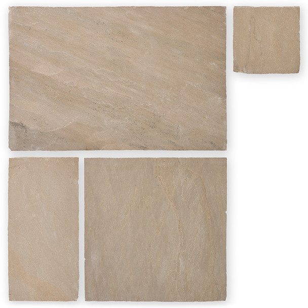 Camel Buff Indian Sandstone Paving Slabs Project Pack (15.25sqm) - Calibrated 22mm