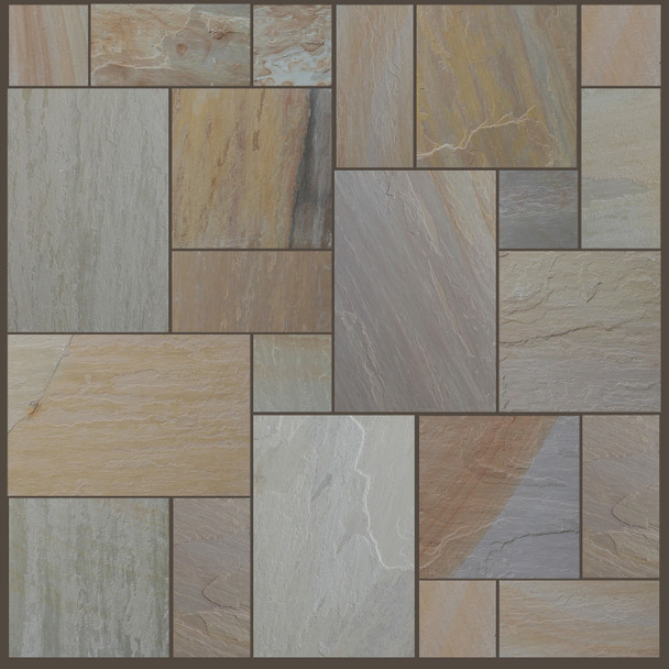 Maple Blend Sandstone Patio Paving Slabs Project Pack (20.78sqm) - Dry