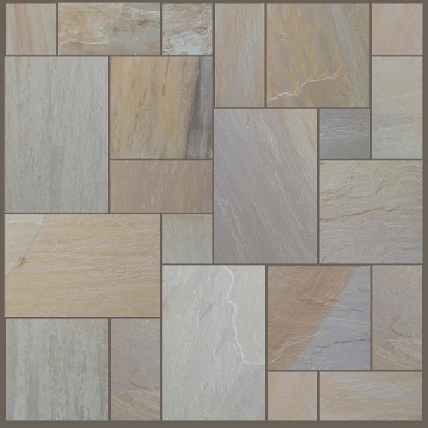 Maple Blend Sandstone Patio Paving Slabs Project Pack (20.78sqm)  - Wet