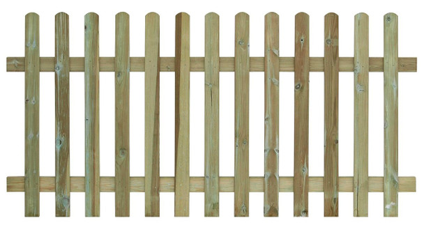 Round Top Picket Fence Panel (1800 x 900mm) - Pressure Treated