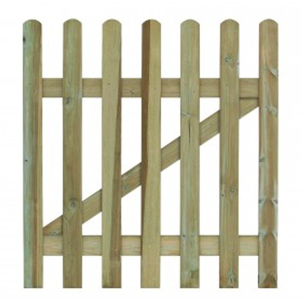 Round Top Picket Gate (900 x 900mm) - Pressure Treated Green Timber