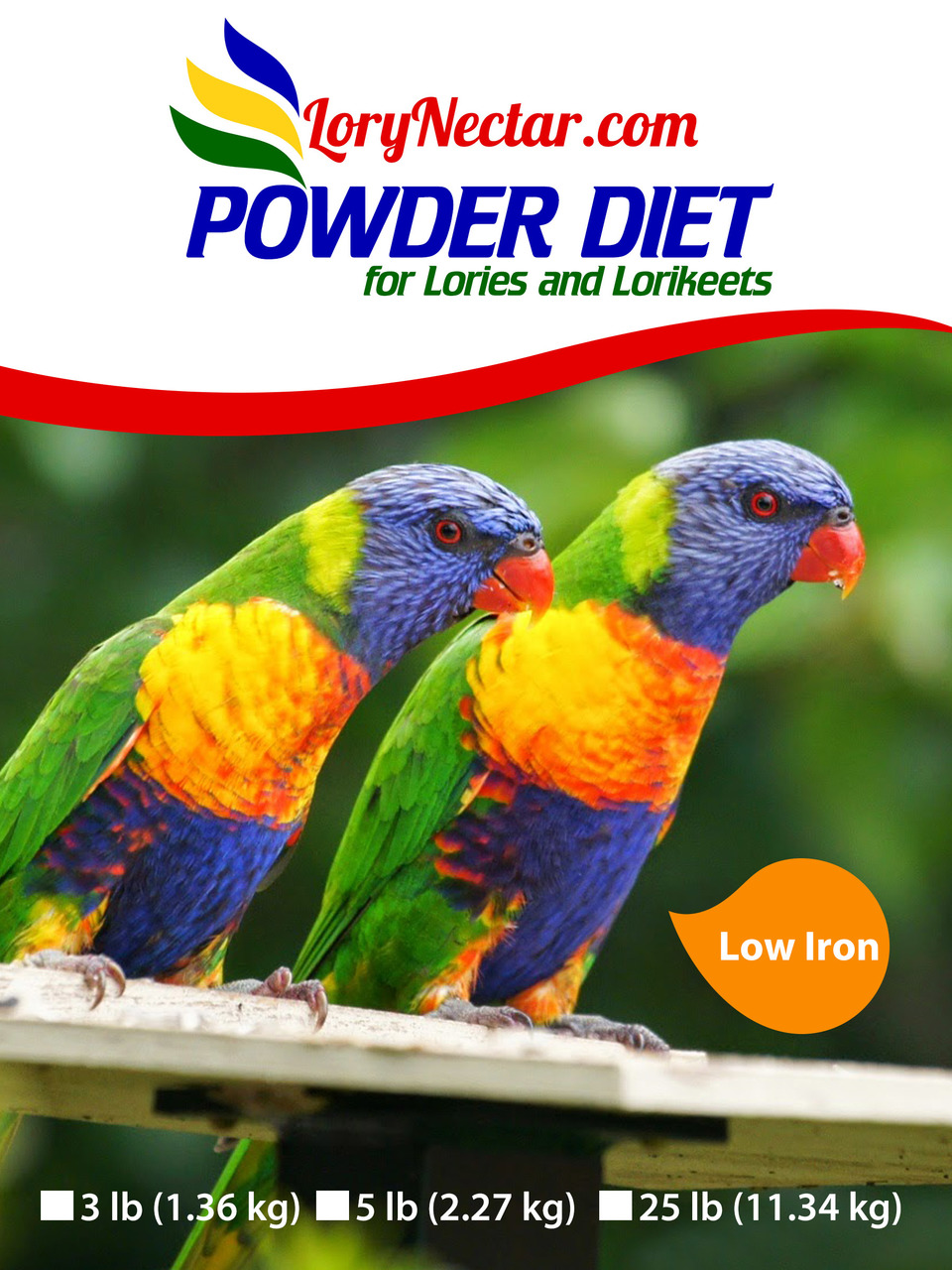 Best LoryNectar Powder Diet that has low Iron.