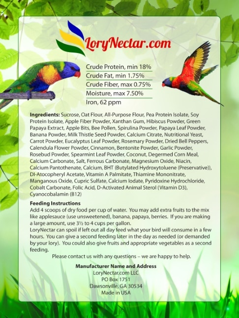 Best LoryNectar Breeder Diet with Low Iron and High Protein back label.