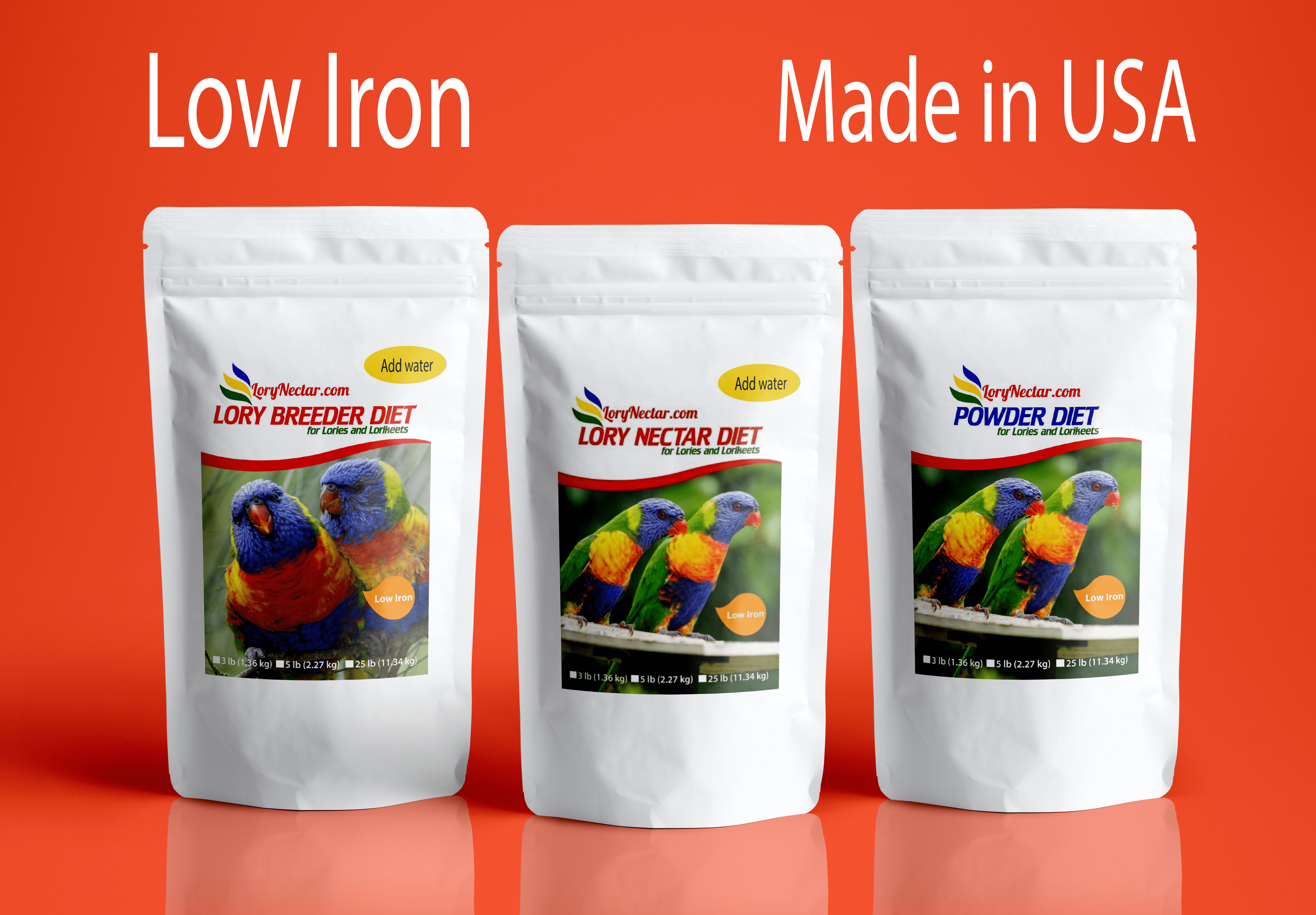 LoryNectar best low iron brand of lory nectar made in USA
