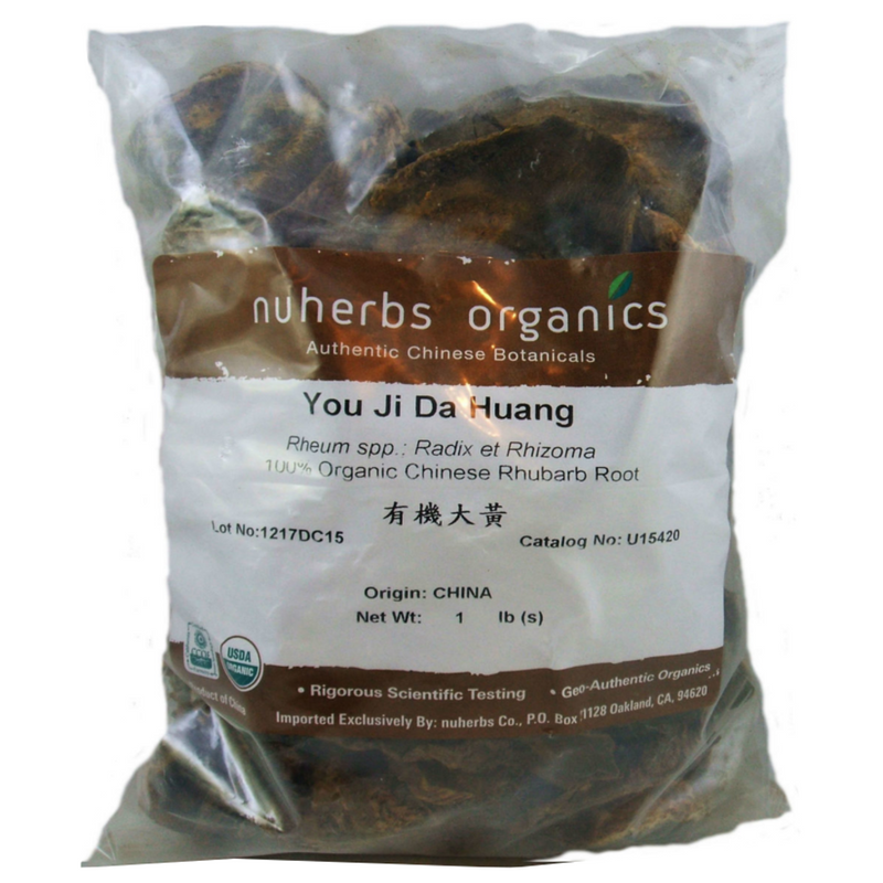 Rhubarb Root- Chinese (Da Huang) Nuherbs Certified Organic Cut Form 1lb