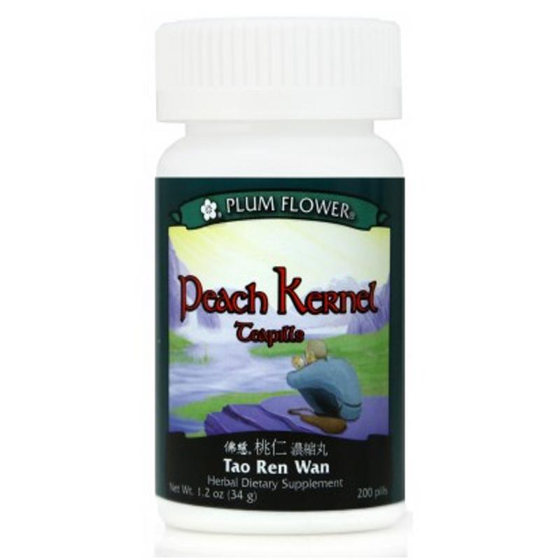 Peach Kernel Teapills (Tao Ren Wan / Ru Chang Wan) - 200 Pills/Bottle - Plum Flower Brand