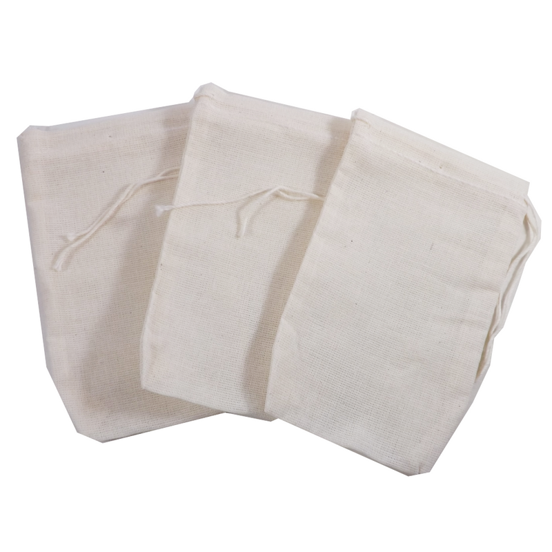 """Re-useable Muslin Teabags 3"""" x 5"""" 1 teabag (Culinary bags)  Muslin Culinary Bags - Use for reusable teabags, spice bags, sachets, herbal baths, Herbal foot soaks, gift bags, party favor bags and crafts."""
