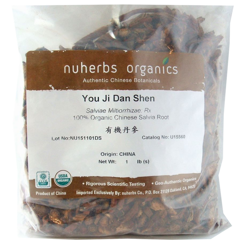 Salvia / Red Sage Root (Dan Shen) - Certified Organic Cut Form 1 lb - Nuherbs Brand
