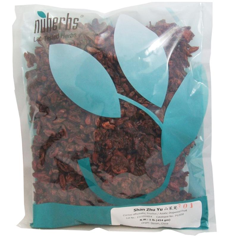 Asiatic Dogwood Fruit (Shan Zhu Yu) - Lab-Tested Whole Form 1 lb. - Nuherbs Brand (P12030)