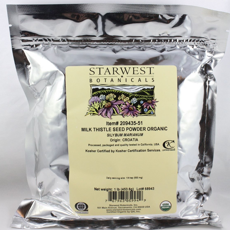 Milk Thistle Seeds Powder Organic Starwest brand 1lb
