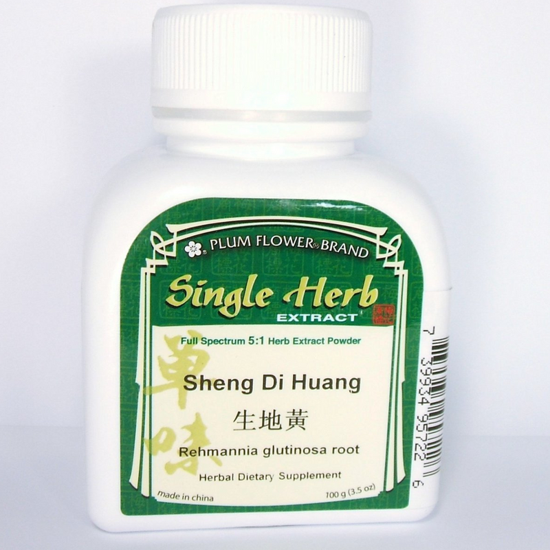 Sheng Di Huang, Raw Rehmannia Root - Powdered Concentrate, Plum Flower 100 gram bottle