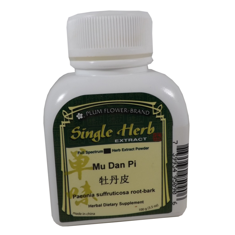 Front of the bottle of the single herb extract of Mu Dan Pi.