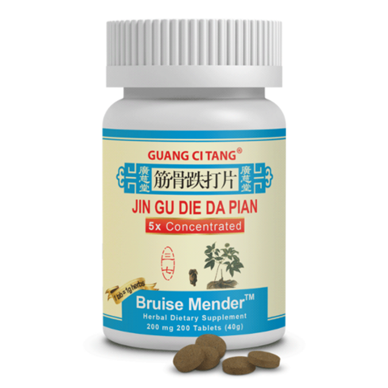 Bruise Mender Tablets, Hin Gu Die Da Pian  200 pills Benefits both the Qi and the Blood flow .