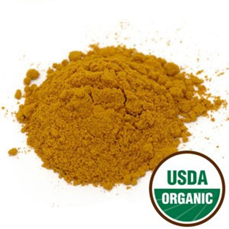 Turmeric Organic Powder (Curcuma longa)   It is often used as part of food seasonings for spicy curries and pungent mustards. Like other strong organic spices, turmeric is typically used in a ground form for culinary purposes.