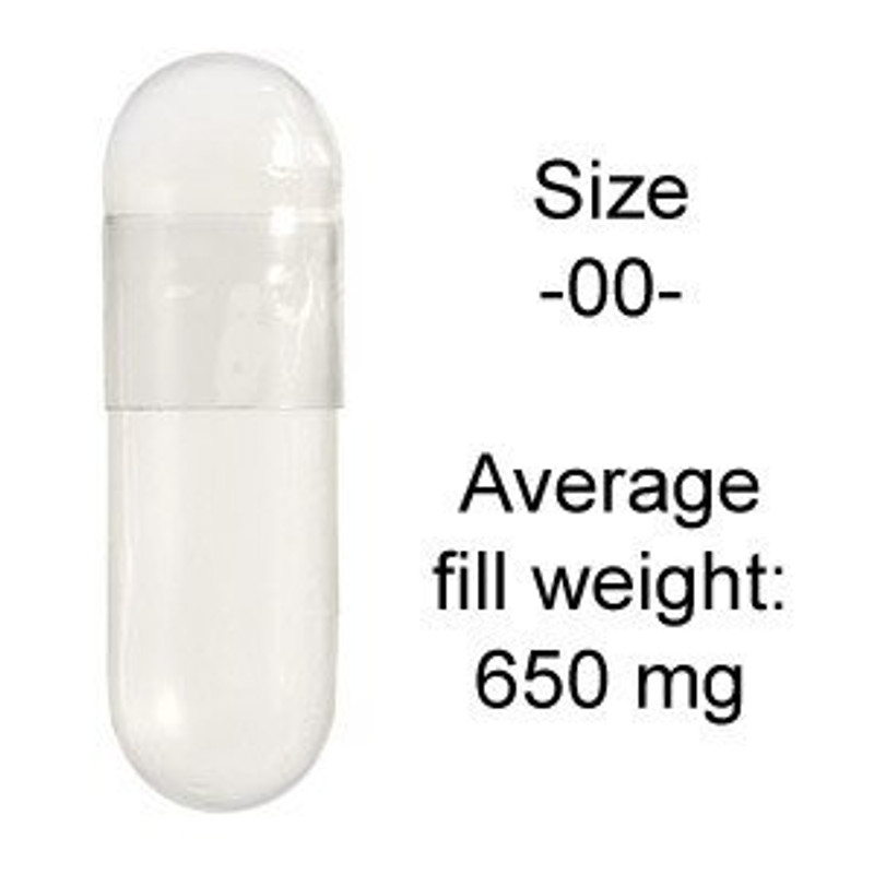 Gelatin Capsules Size 00 average 650 mg of herbal product.